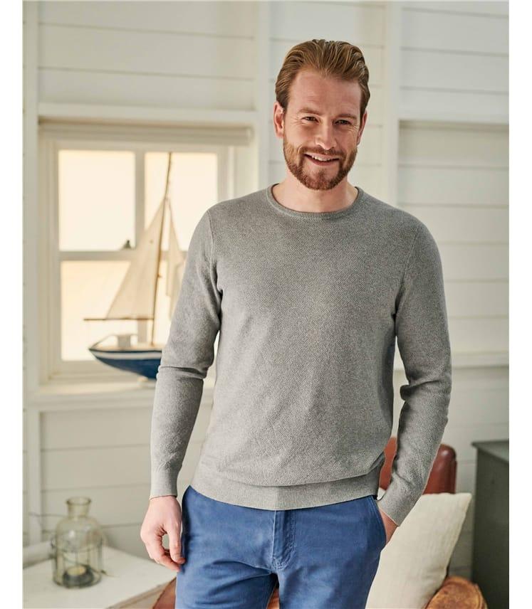 Organic Cotton Cashmere Textured Crew Neck Sweater