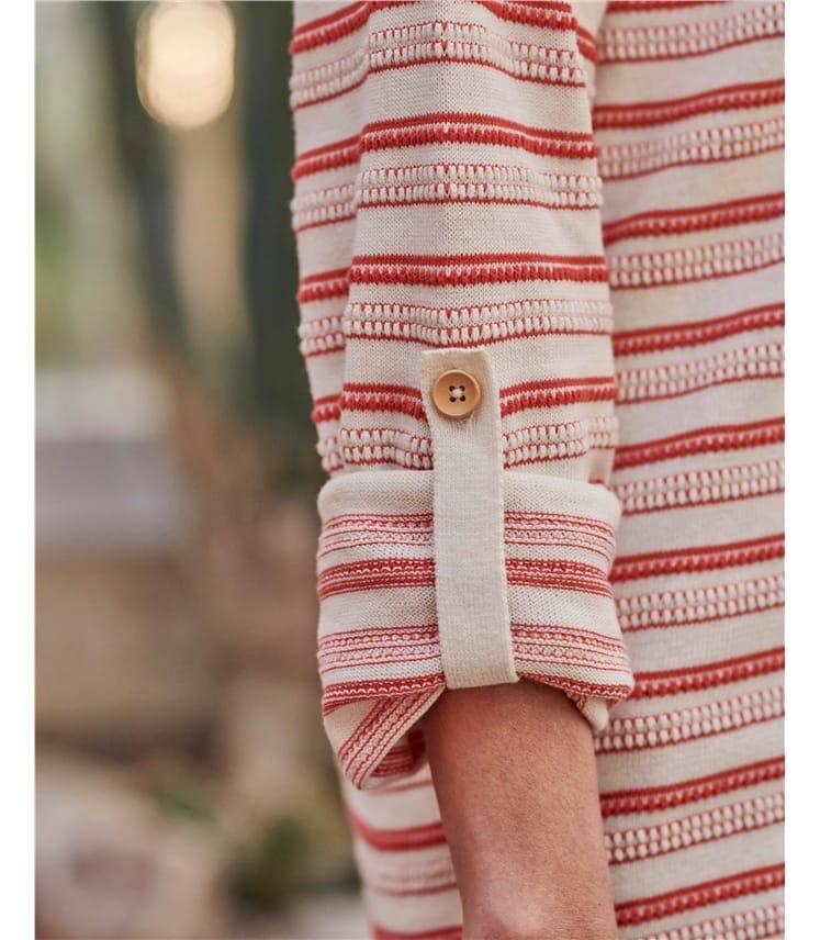 Organic Cotton Textured Stripe Tab Back Jumper