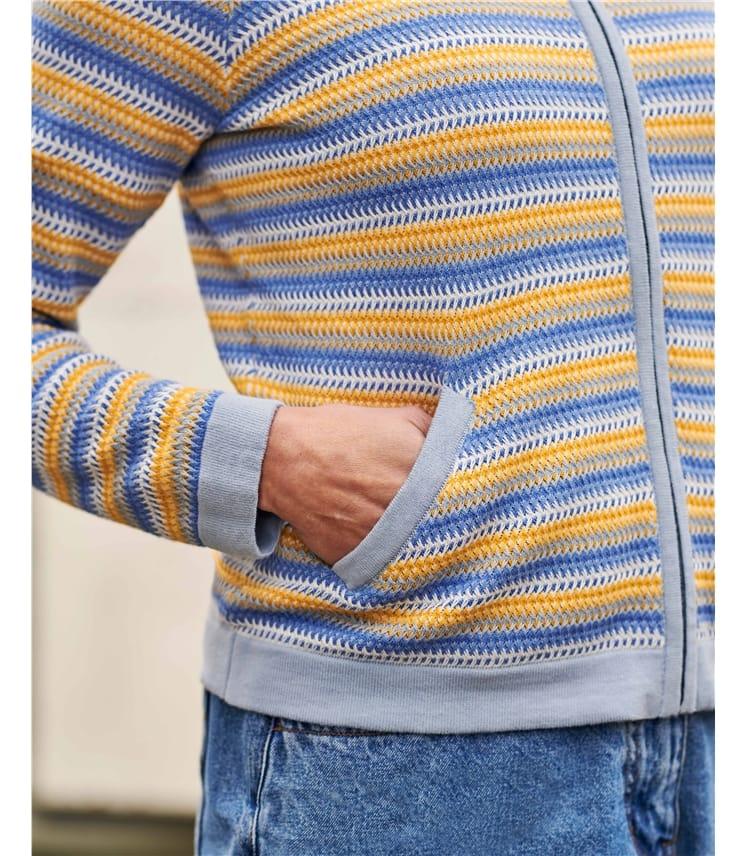 Organic Cotton Lightweight Textured Stripe Zip Up Cardigan