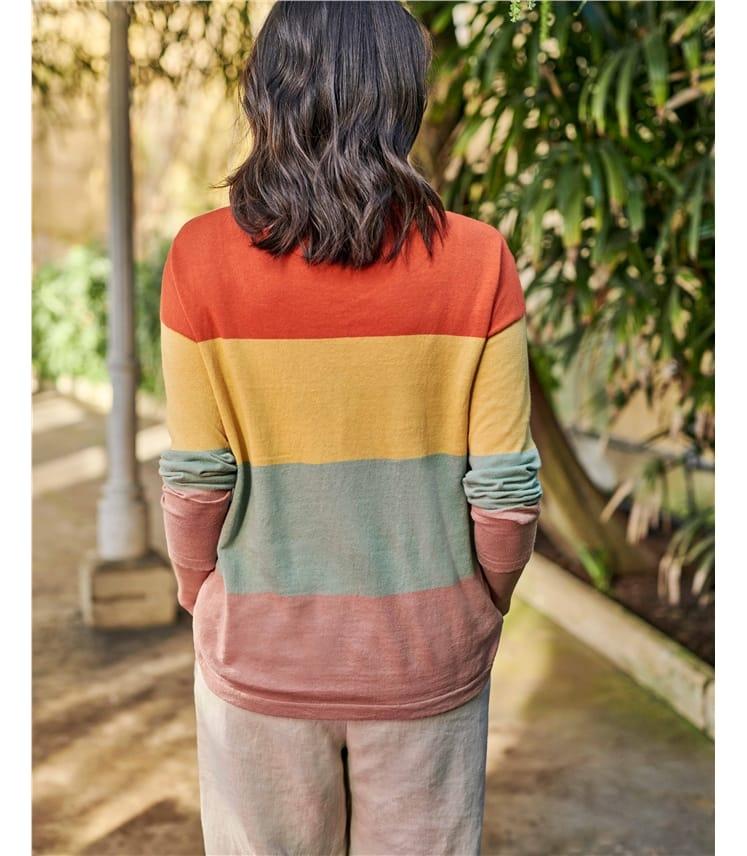 Colour Block Linen Cotton Jumper
