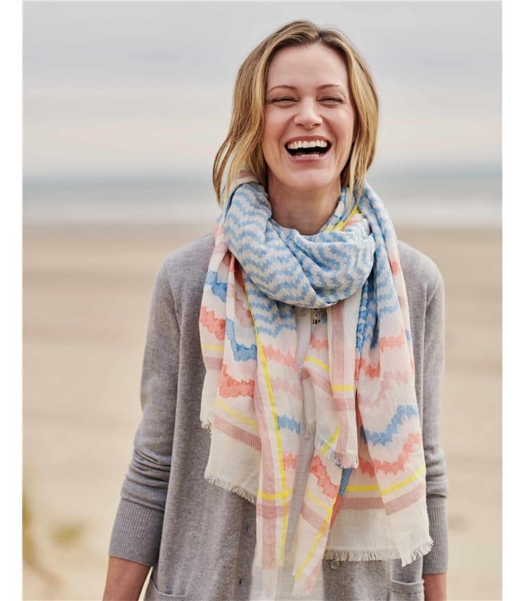 Stripe Jacquard Wave Cotton Scarf