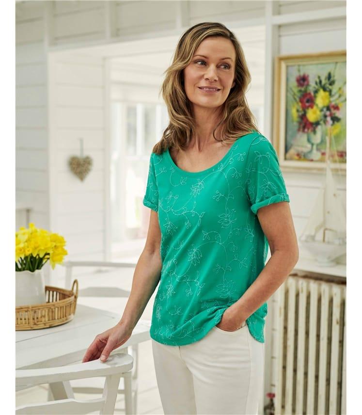 T-shirt brodé - Femme - Jersey