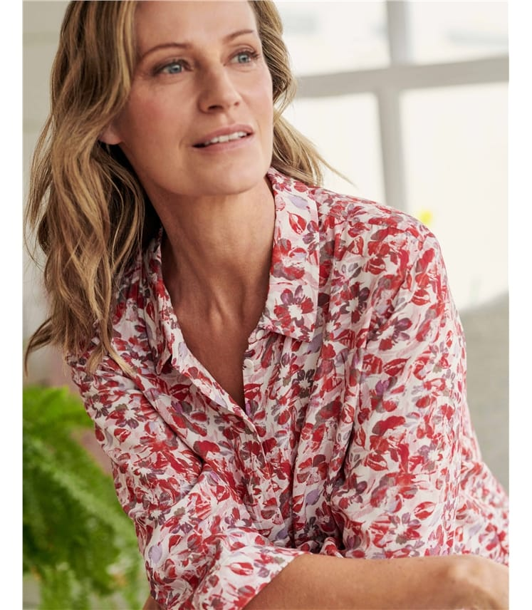 Collared Printed Blouse