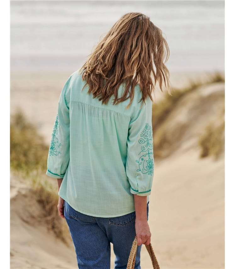 Floral Embroidered Sleeve Top