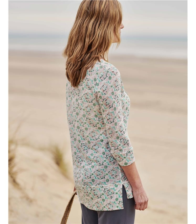 Linen Step Hem Top