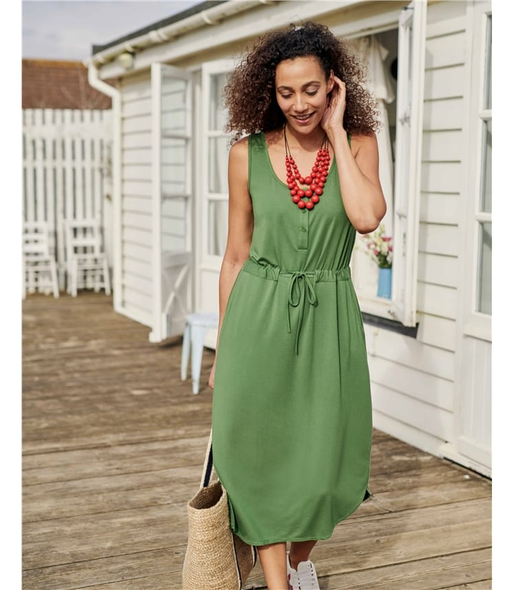 Easy Button Front Dress
