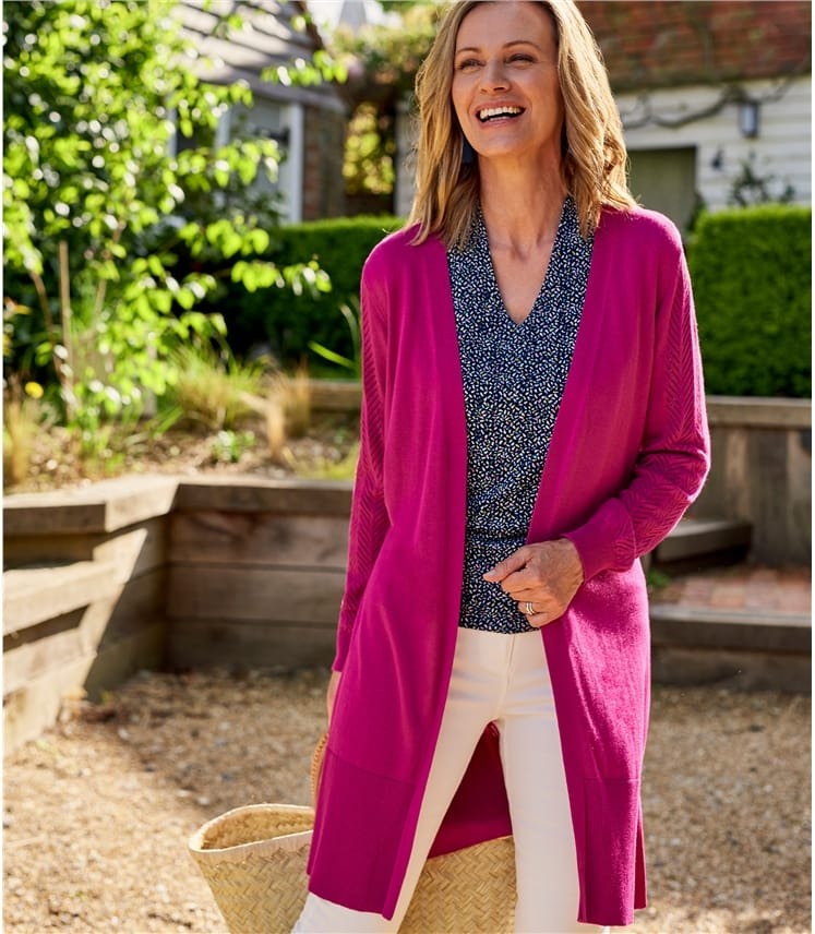 Womens Edge To Edge Cardigan With Tie
