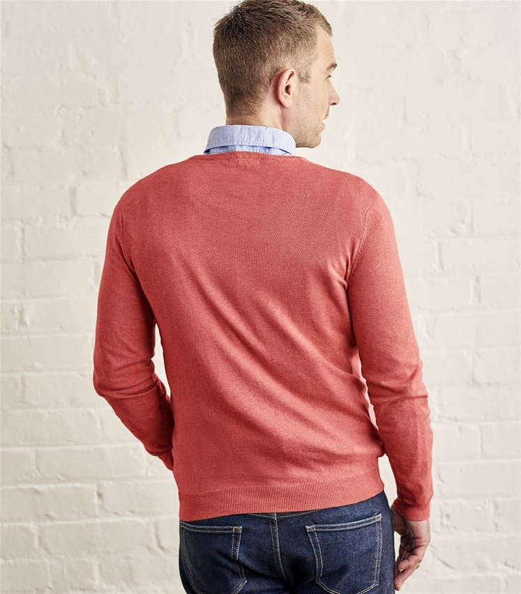 Mens Silk and Cotton V Neck Jumper