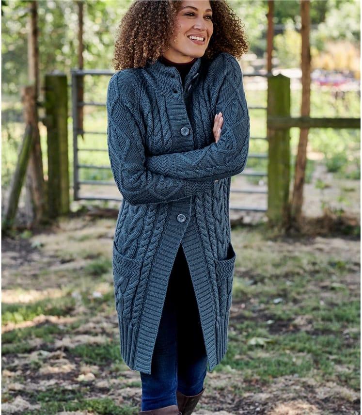 Manteau cardigan en maille irlandaise - Femme - Pure Laine
