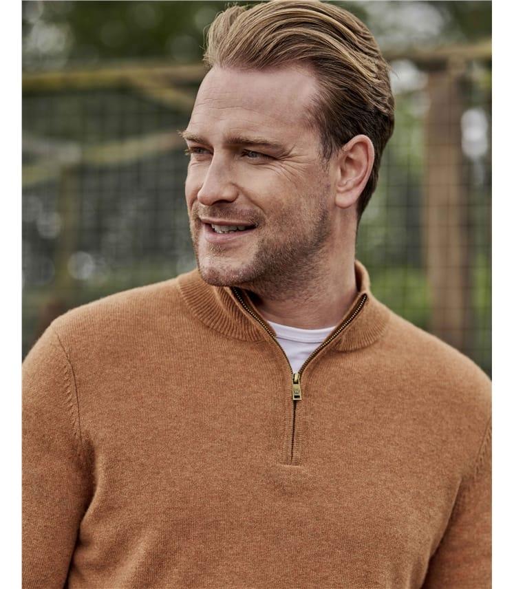 Pullover mit kurzem Reißverschluss aus Merinowolle und Kaschmir für Herren