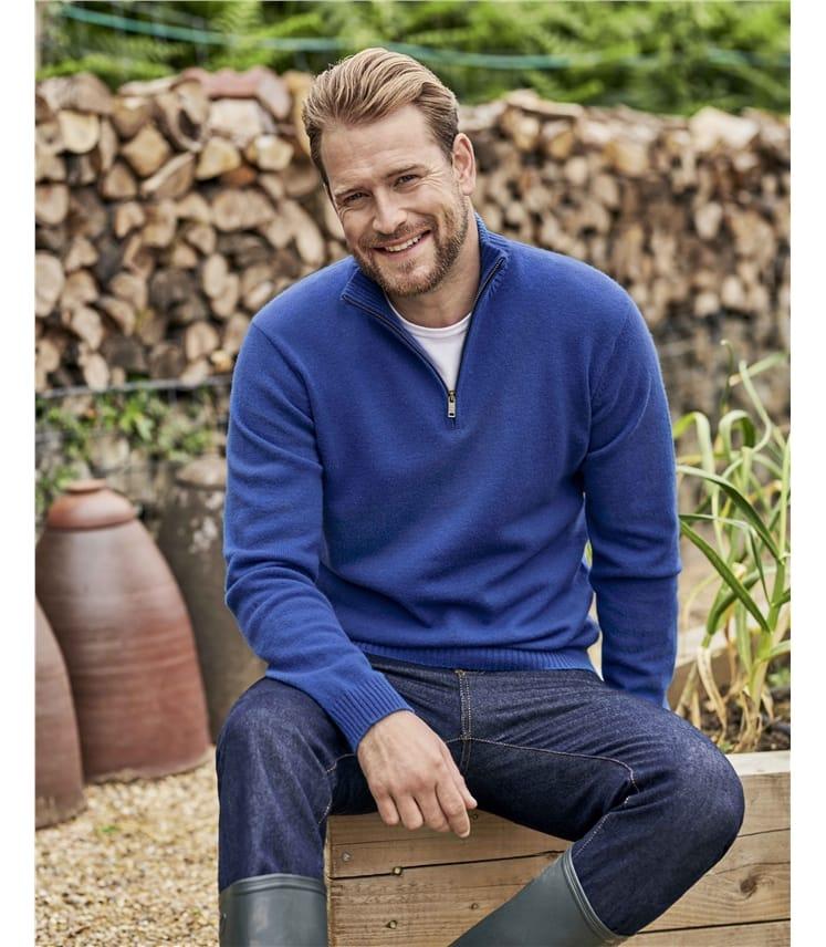 Pure Lambswool Zip Neck Sweater