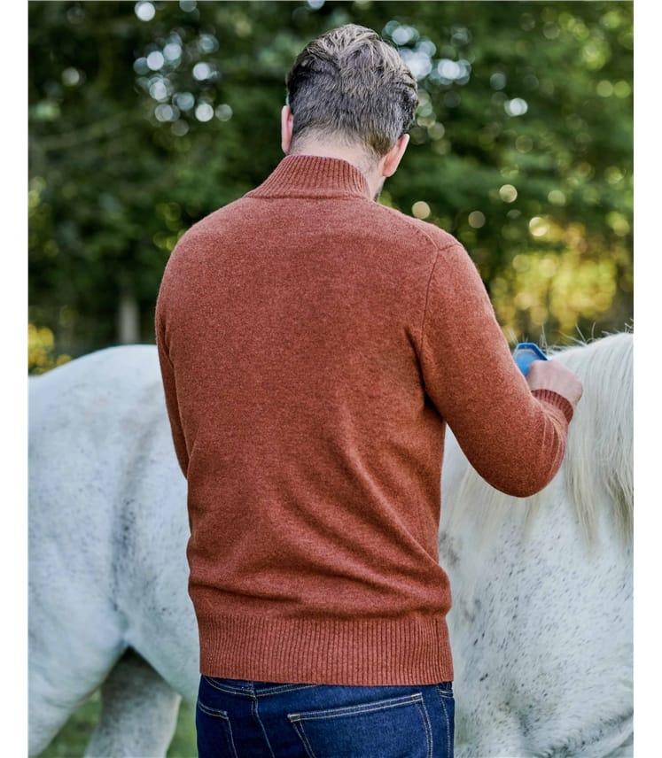 Strickjacke mit Reißverschluss aus Lammwolle für Herren