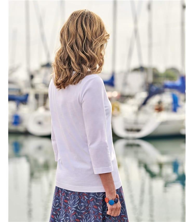 Haut col bateau à manches 3/4 - Femme - Pur Coton Bio