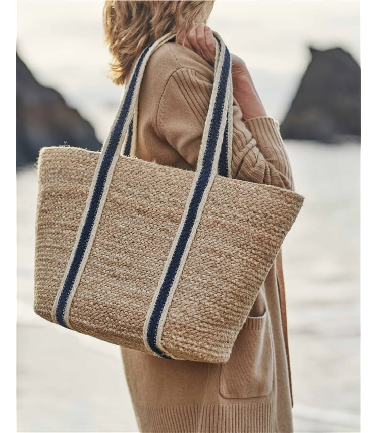 Long Handle Jute Tote Bag