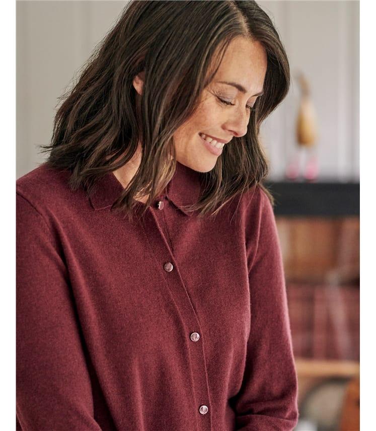 Cardigan à col chemise - Femme - Pur Mérinos