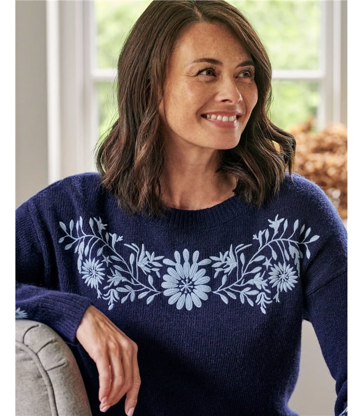 Embroidered Flower Knitted Jumper