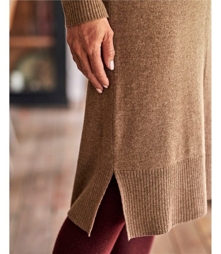 Cashmere Merino Crew Neck Knitted Dress