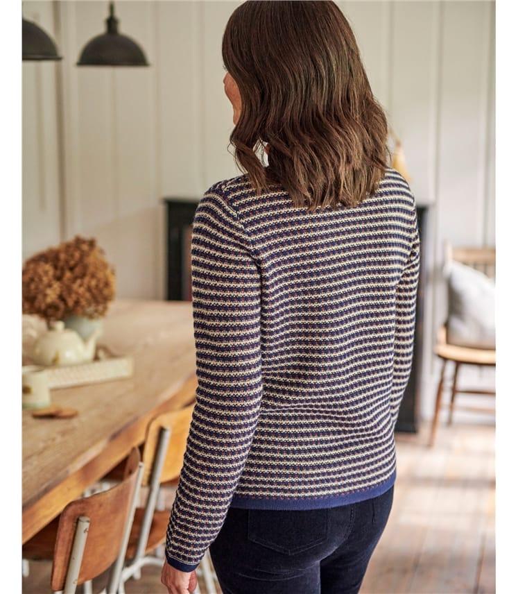 Merino Wool Textured Zip Neck Cardigan