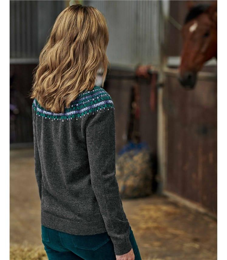 Merino Wool Yoke Patterned Sweater
