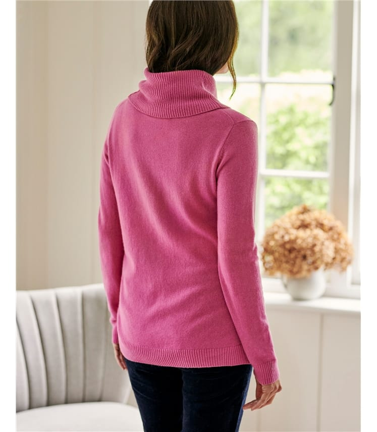 Cashmere And Merino Long Sleeve Cowl Neck Jumper
