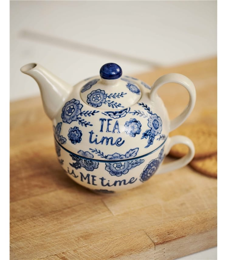 Blue Willow Floral Tea For One