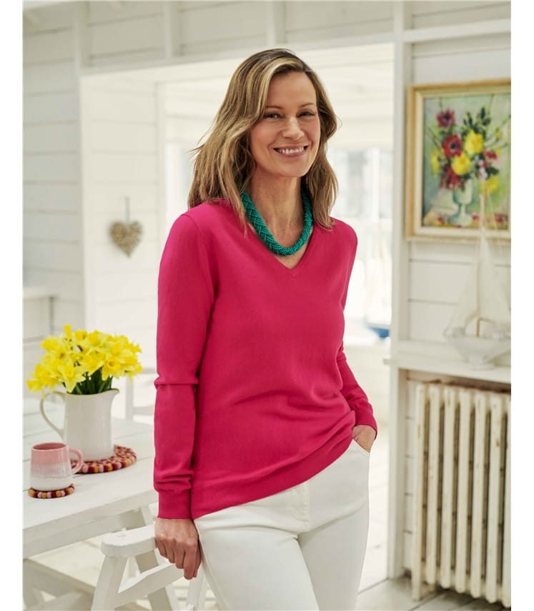 Cashmere & Cotton V Neck Sweater