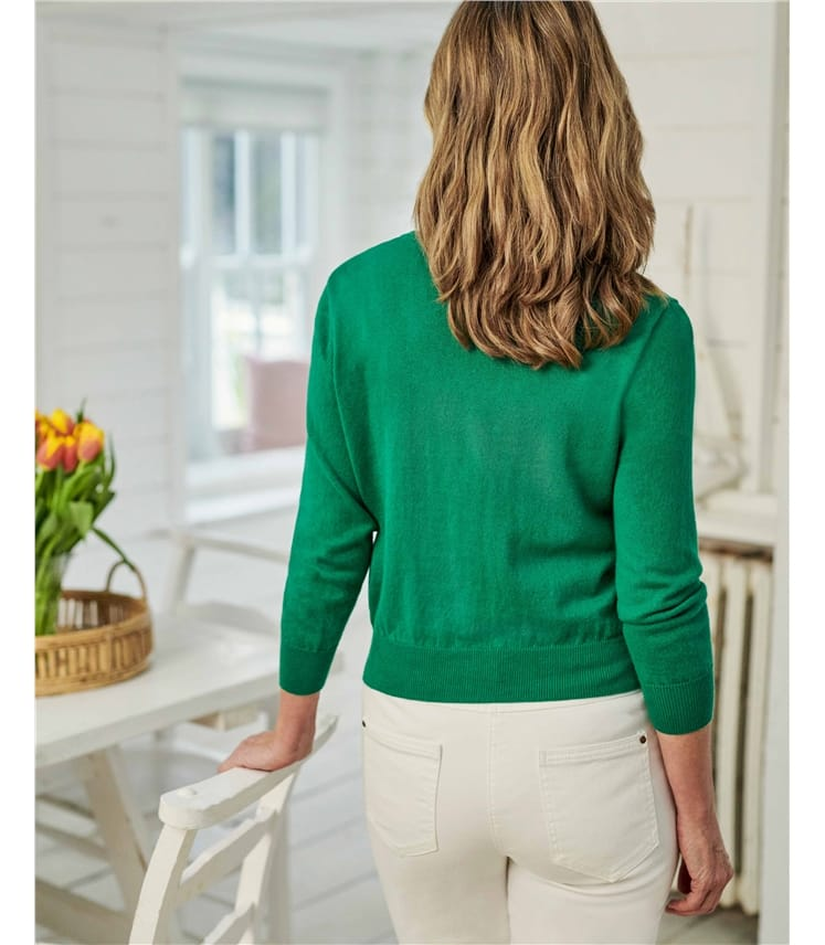 Silk and Cotton 3/4 Sleeve Crop Cardigan
