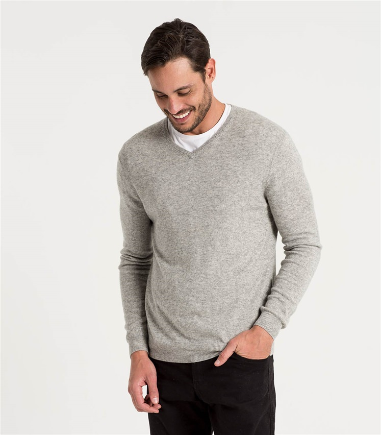 6039900428c0f0 Flannel Grey | Mens Cashmere & Merino V Neck Knitted Sweater ...