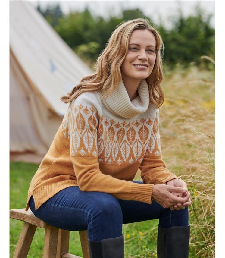 Pullover mit Blattmuster und Wasserfallausschnitt