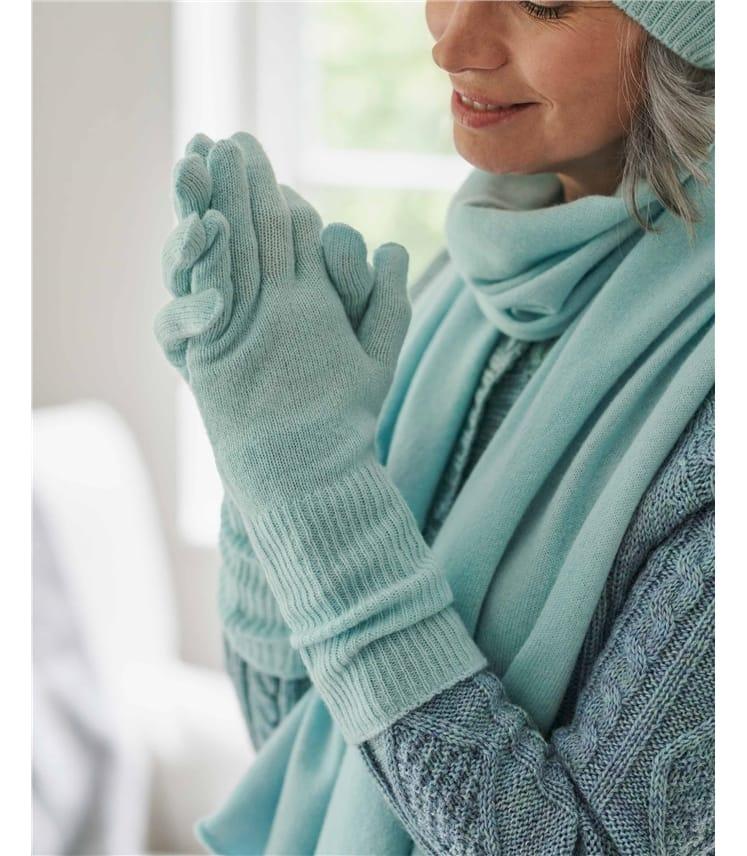 Womens Premium Pure Cashmere Long Rib Gloves