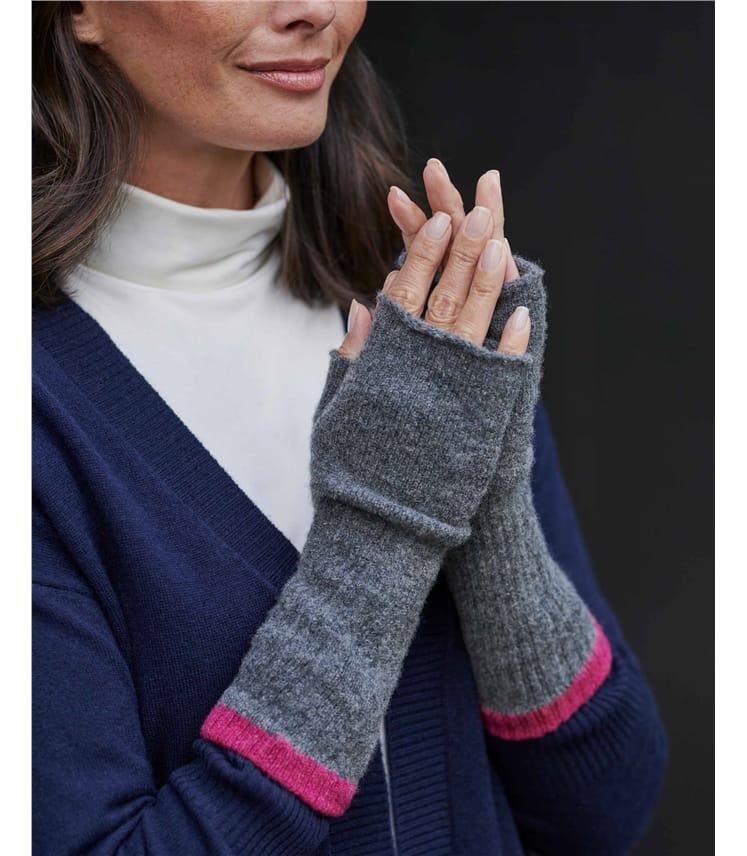 Tipped Lambswool Wrist Warmers