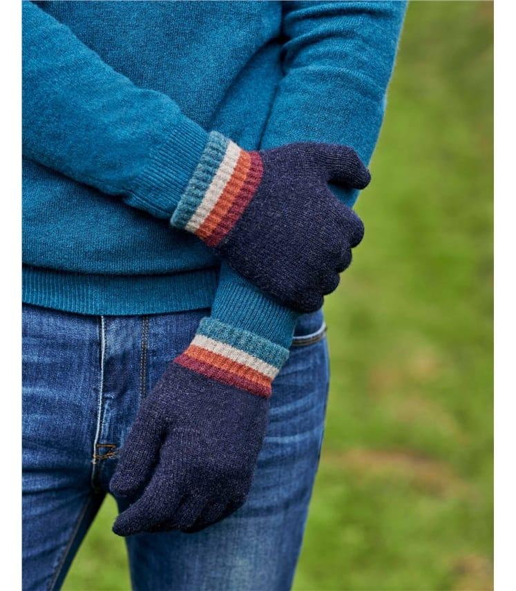 Gestreifte Herrenhandschuhe aus Lammwolle