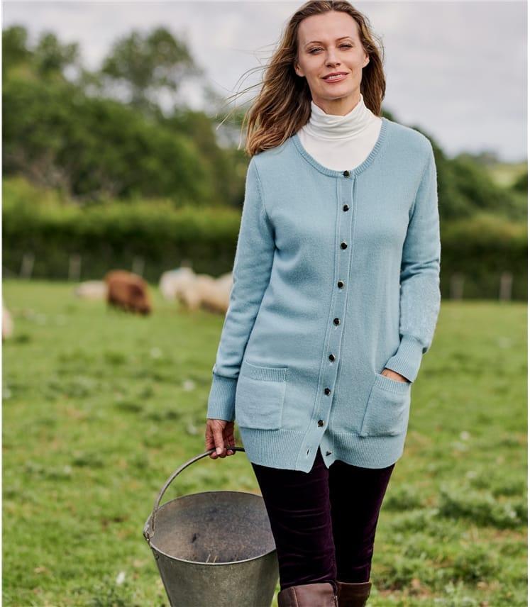 Cardigan à col rond - Femme - Laine d'agneau