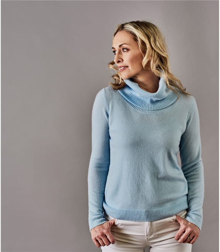 5a2438221caa3 Soft Blue Pure Cashmere | Womens Pure Cashmere Cowl Neck Jumper
