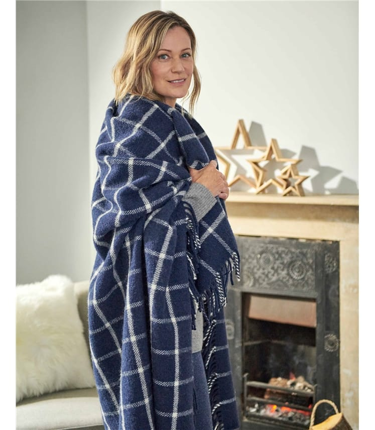 Pure Wool Chequered Check Throw
