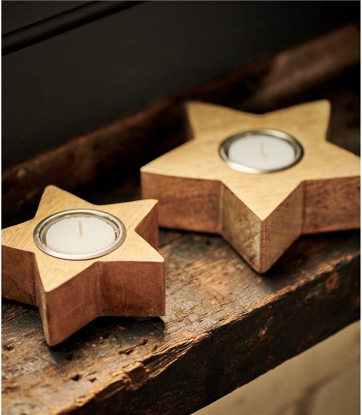 Lot de 2 porte-bougies motif étoile - Maison - Bois