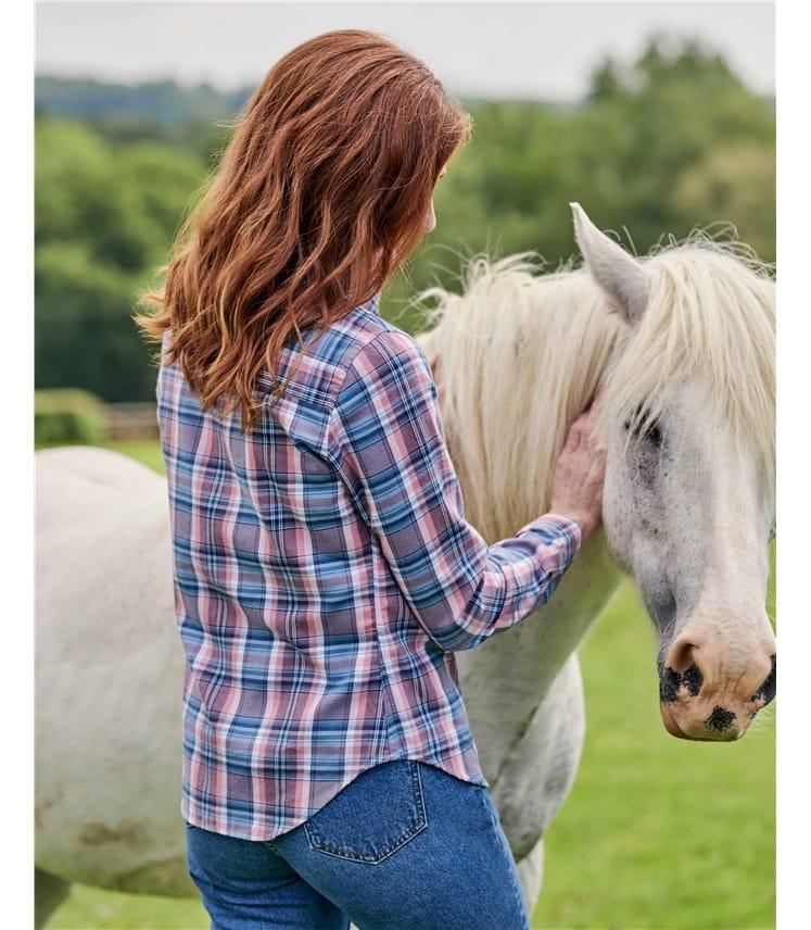 Chemise à carreaux - Femme - Coton brossé