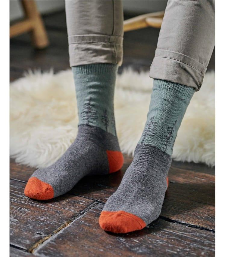Chaussettes motif forêt - Homme - Laine d'Agneau mélangée