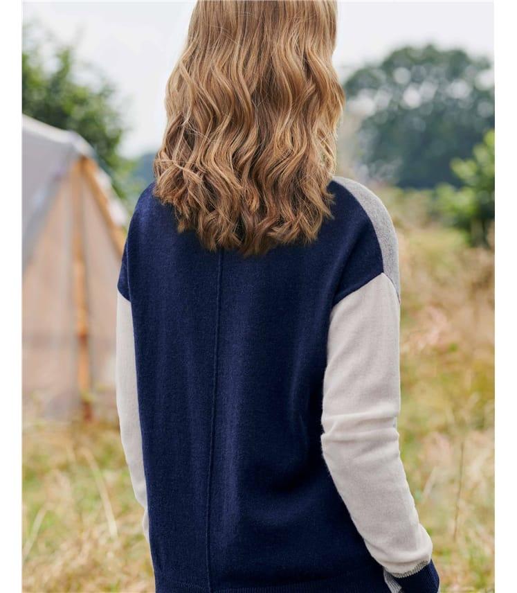 Color Block Notch Back Sweater