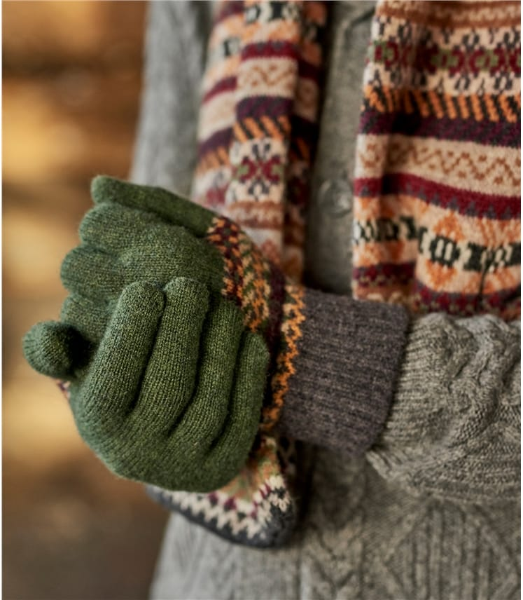 Mens Lambswool Fairisle Gloves