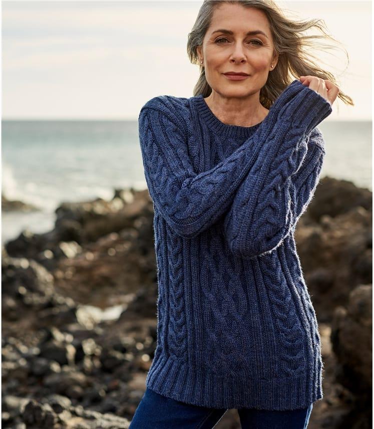 Womens Pure Wool Aran Sweater