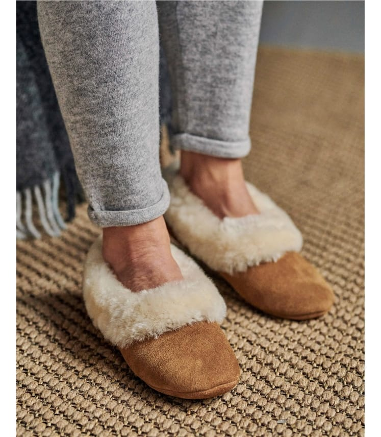 Sheepskin Collar Ballerina Slippers