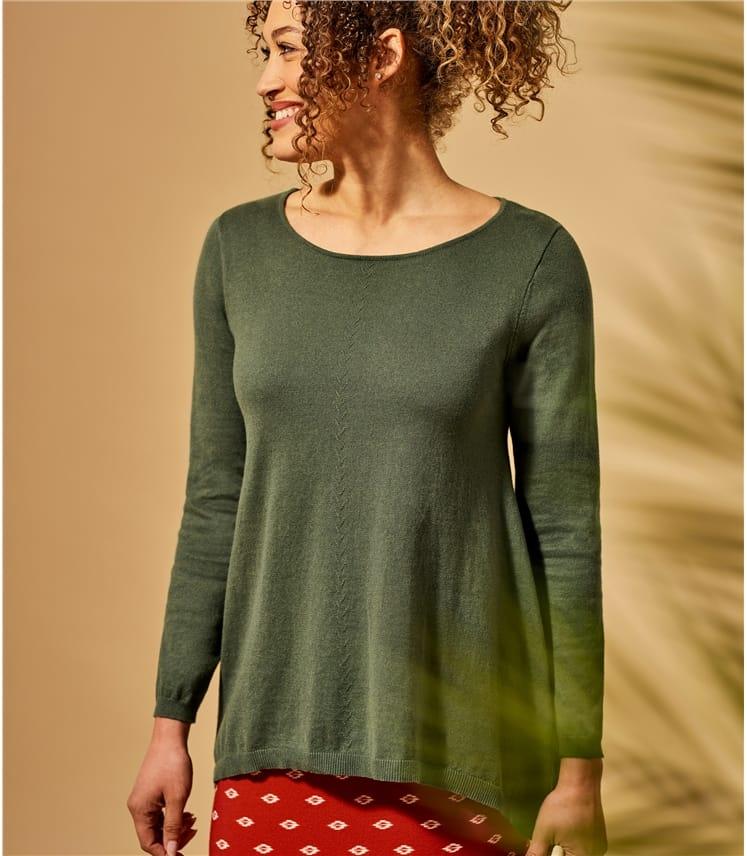 Womens Curved Neck Hanky Hem Sweater