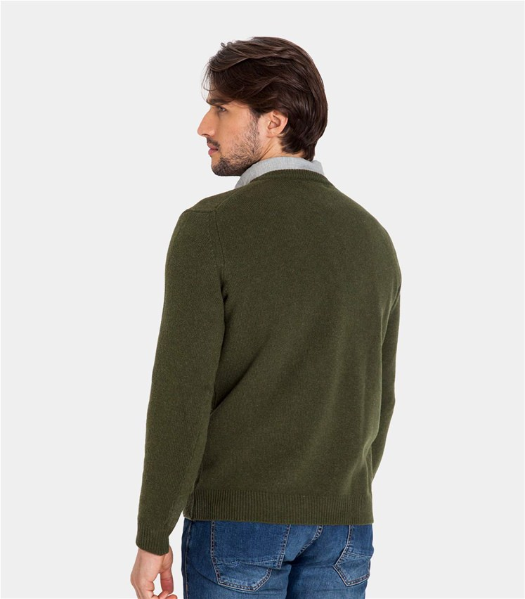 23f5a92ddc2 Moss Green Pure Lambswool | Mens Lambswool V Neck Knitted Sweater