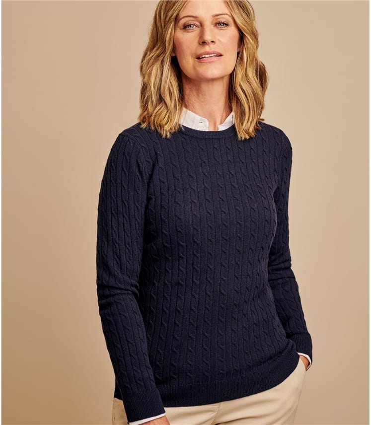 Cashmere Merino Cable Crew Neck Jumper