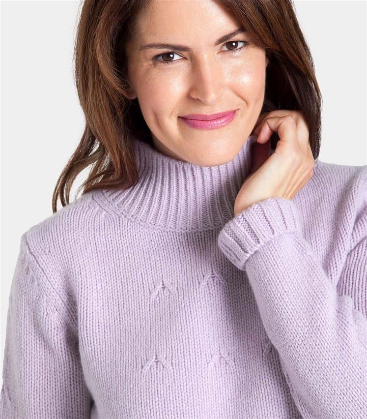 Womens Wool Blend Funnel Neck Hidden Cable Jumper