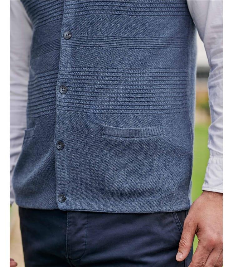 Organic Cotton Textured Stitch Waistcoat