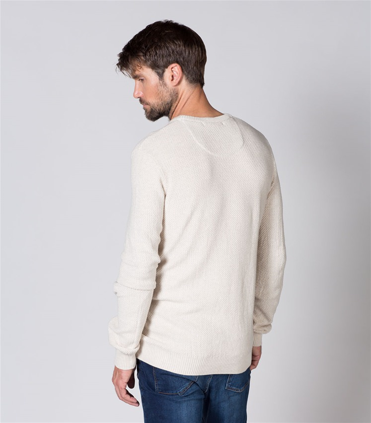 Mens 100% Cotton Texture Crew Neck Sweater