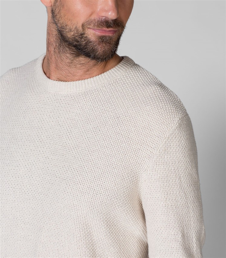 Mens 100% Cotton Texture Crew Neck Jumper