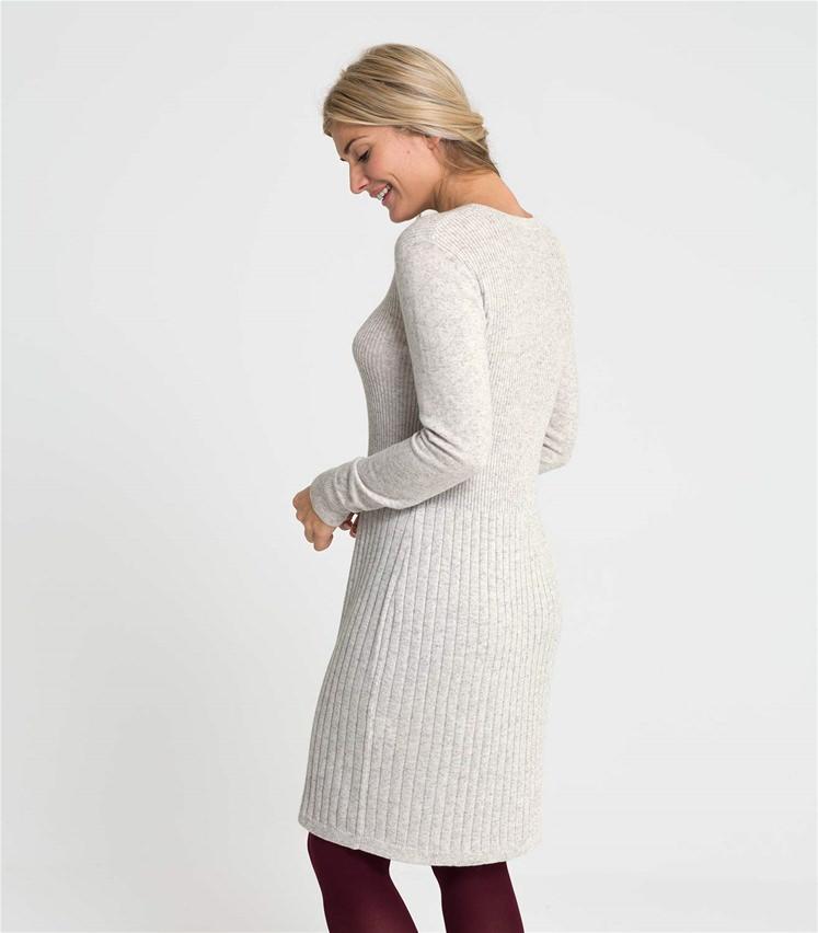 Womens Cashmere and Merino Rib Detail Dress